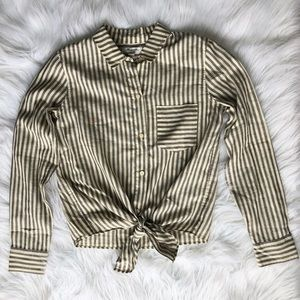 Madewell Striped Tie Front Long Sleeve Top Cotton